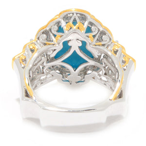 Gems en Vogue Sleeping Beauty Turquoise & Orange Sapphire Cocktail Ring
