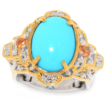 Load image into Gallery viewer, Gems en Vogue Sleeping Beauty Turquoise & Orange Sapphire Cocktail Ring