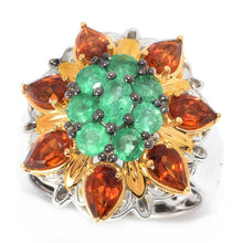 Load image into Gallery viewer, Gems en Vogue 1.99ctw Belmont Emerald & Madeira Citrine Flower Ring