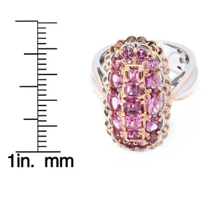 Gems en Vogue 2.33ctw Pink Tourmaline Elongated Cluster Ring