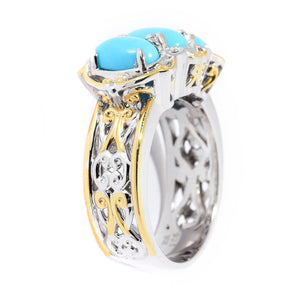 Gems en Vogue Oval Shaped Sleeping Beauty Turquoise 3-Stone Ring