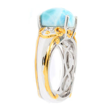 Load image into Gallery viewer, Gems en Vogue Oval Shaped Larimar Cabochon Solitaire Ring