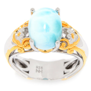 Gems en Vogue Oval Shaped Larimar Cabochon Solitaire Ring