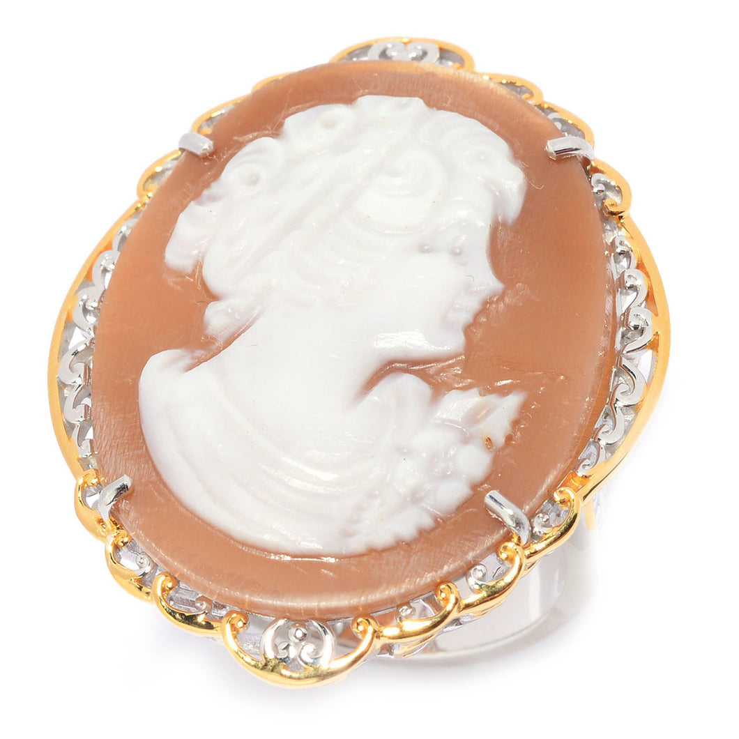 Gems en Vogue Oval Shaped Carved Shell Portrait Cameo Ring