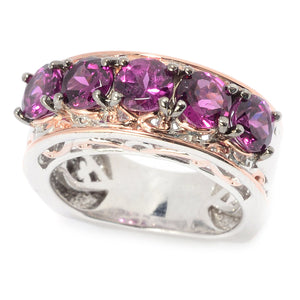 Gems en Vogue 3.08ctw Color Change Purple Garnet 5-Stone Band Ring