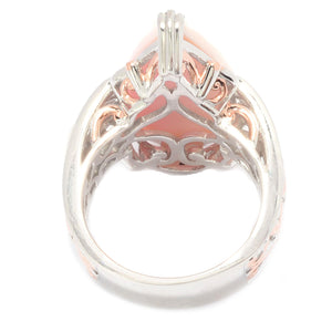 Gems en Vogue Pear Shaped Carved Pink Conch Shell Cameo Ring