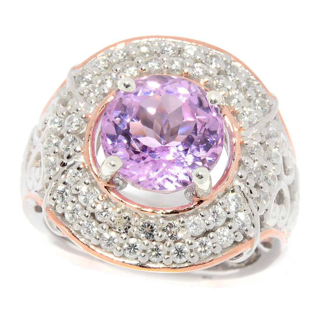 Gems en Vogue 4.71ctw Kunzite & White Zircon Halo Ring