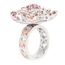 Load image into Gallery viewer, Gems en Vogue 2.11ctw Rose Garnet Tiered Flower Ring