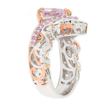 Load image into Gallery viewer, Gems en Vogue 2.75ctw Trillion Kunzite & Pink Sapphire Chevron Ring