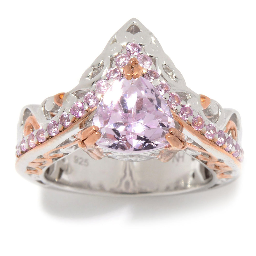 Gems en Vogue 2.75ctw Trillion Kunzite & Pink Sapphire Chevron Ring