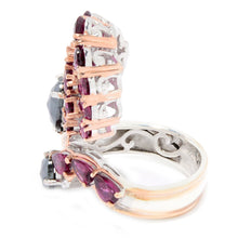 Load image into Gallery viewer, Gems en Vogue 4.92ctw Rhodolite & Hematite Fan Cluster Bypass Ring