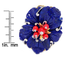 Load image into Gallery viewer, Gems en Vogue Carved Lapis & Red Coral Flower Ring