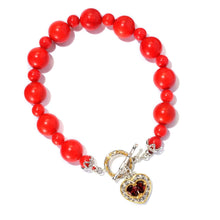 Load image into Gallery viewer, Gems en Vogue Choice of Gemstone & Heart Charm Toggle Bracelet