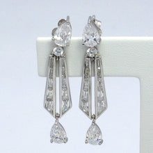 Load image into Gallery viewer, Signity Sterling Silver Cubic Zirconia Drop Earrings