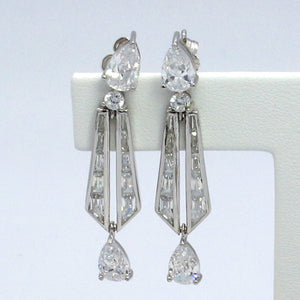 Signity Sterling Silver Cubic Zirconia Drop Earrings