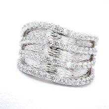 Load image into Gallery viewer, Signity Sterling Silver Cubic Zirconia 4-Row Band Ring