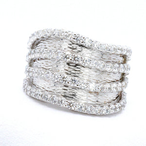 Signity Sterling Silver Cubic Zirconia 4-Row Band Ring