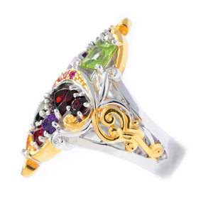 "Gems en Vogue ""Theater District"" Ruby & Multi Gemstone Cluster Ring"