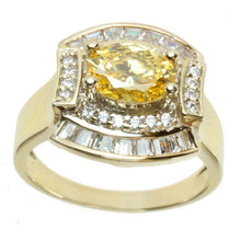 Load image into Gallery viewer, Signity Sterling Silver Yellow and White Cubic Zirconia Ring