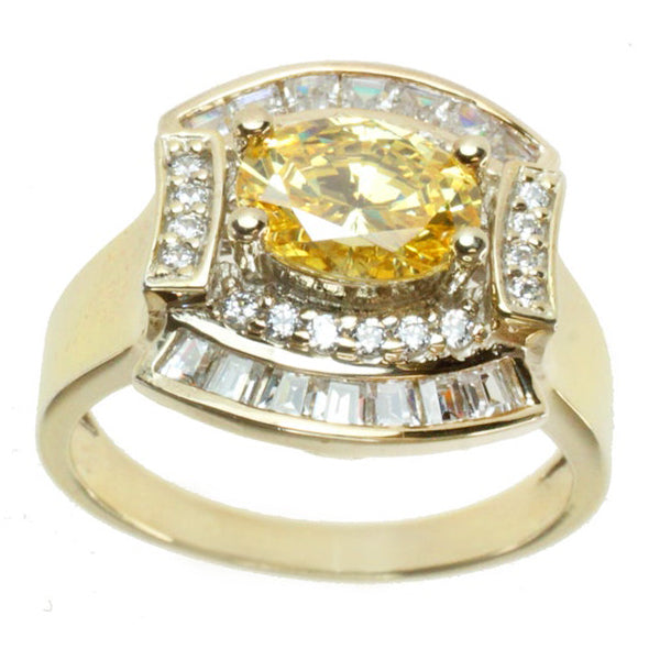 Signity Sterling Silver Yellow and White Cubic Zirconia Ring