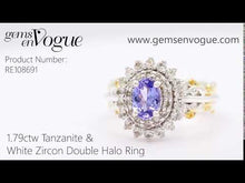 Load and play video in Gallery viewer, Gems en Vogue 1.79ctw Tanzanite & White Zircon Double Halo Ring