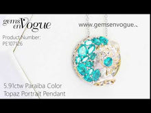 Load and play video in Gallery viewer, Gems en Vogue 5.91ctw Paraiba Color Topaz Portrait Pendant