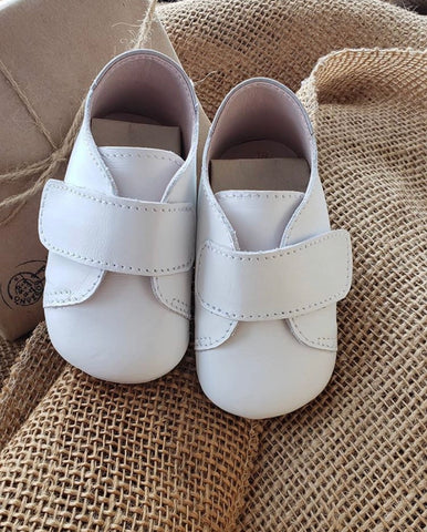 White Leather Velcro Soft Sole Shoe