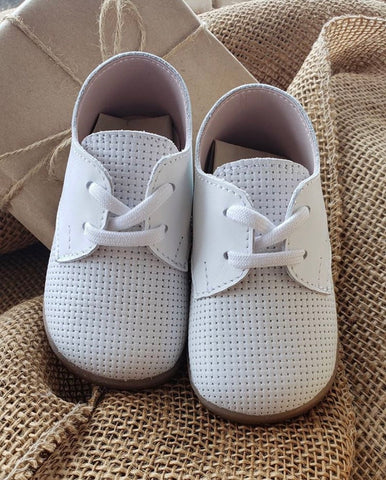 White Leather Lace up Walking Shoe