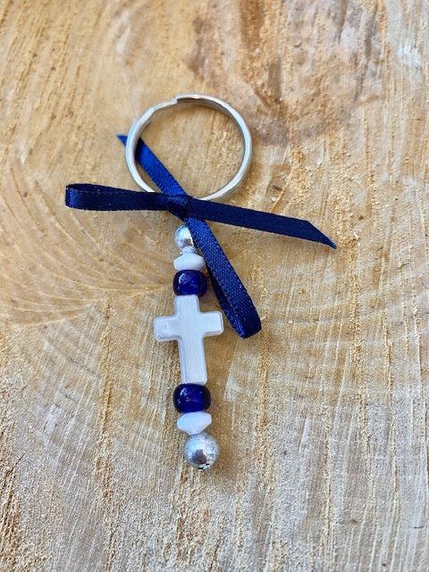 Navy and Pearl Cross Keychain Martyiko/Witness Pin