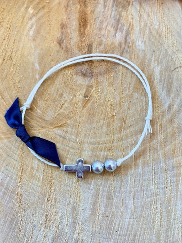 Navy Ribbon Bracelet Martyiko/Witness Pin