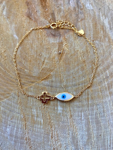 Gold Mati and Cross Bracelet