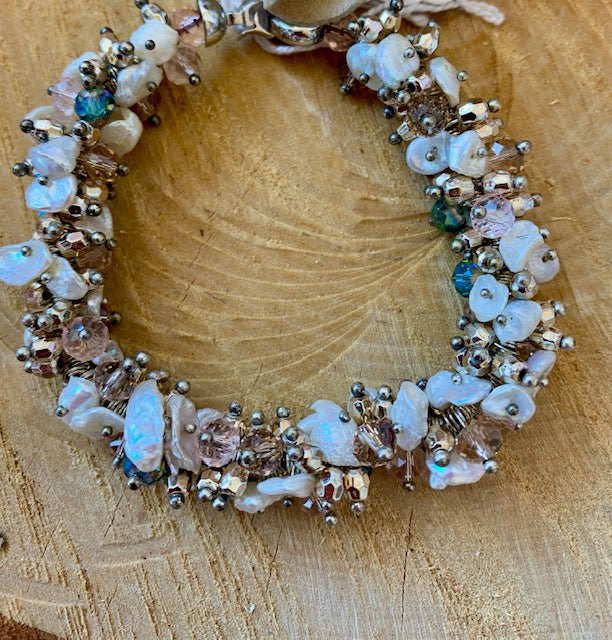 White and Turquoise Keshi Fresh Water Pearl Bracelet