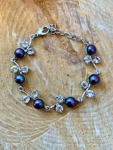 Purple Fresh Water Pearl and Diamond Bracelet