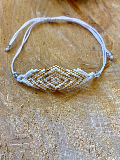 Gold and White Mati Bracelet