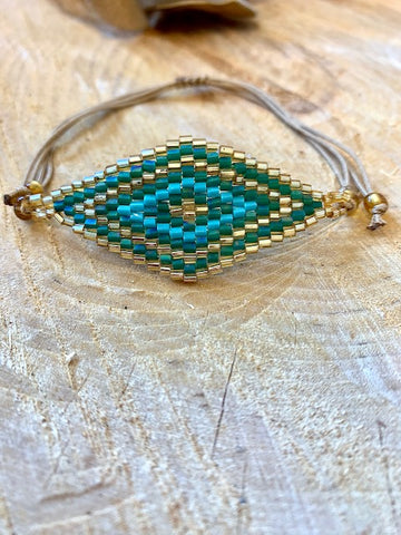 Bohemian Gold and Turquoise Mati Bracelet