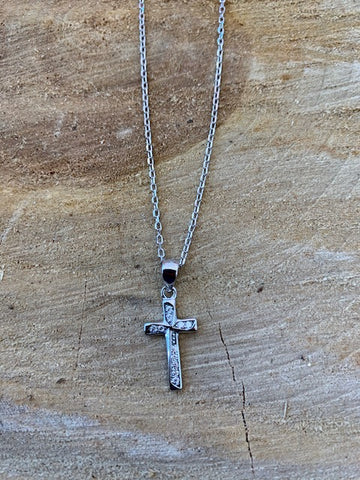 Sterling Silver Diamond Cross