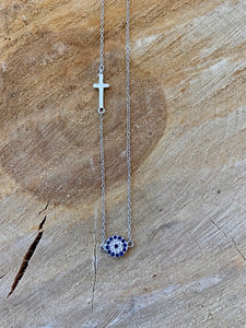 Mati and Cross Necklace