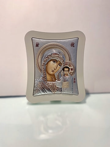Silver Virgin Mary Icon 25 x 21 cm
