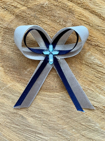 Silver and Navy Bow Martyiko/Witness Pin