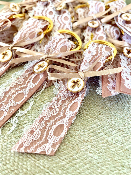Rose Gold and White Lace Keychain Martyiko/Witness Pin