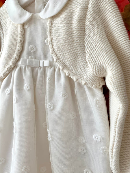 Floral Embroidered Knit Cardigan Dress