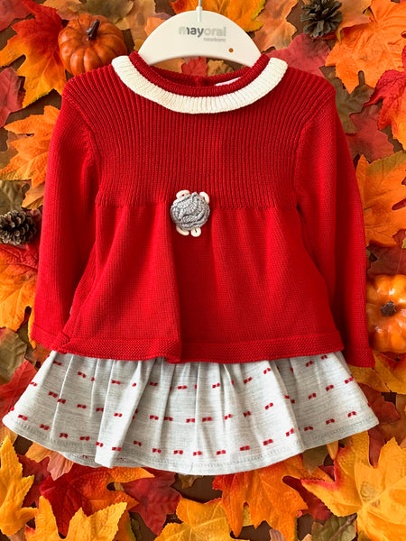 Red Knit 2 Piece Outfit