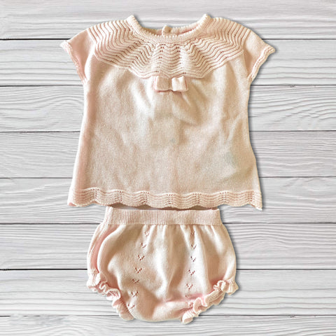 2 Piece Baby Pink Knit Outfit