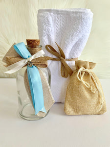 Burlap and Baby Blue Oil Bottle Set