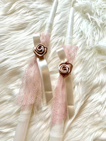 Ivory and Rose Gold Rosette 2 small candles