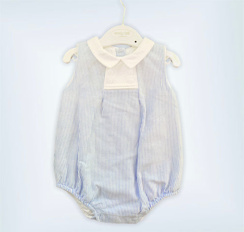 Baby Blue Striped Cotton Onesie