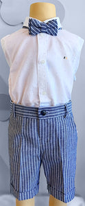 Mayoral 2 piece Cotton shirt and Linen shorts with bow tie