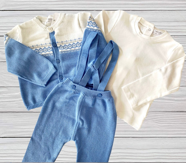 Blue Knit Suspender 3 Piece Outfit