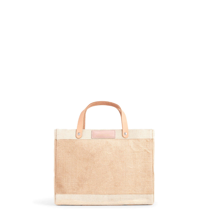 Petite Market Bag in Natural with Pink Round Monogram