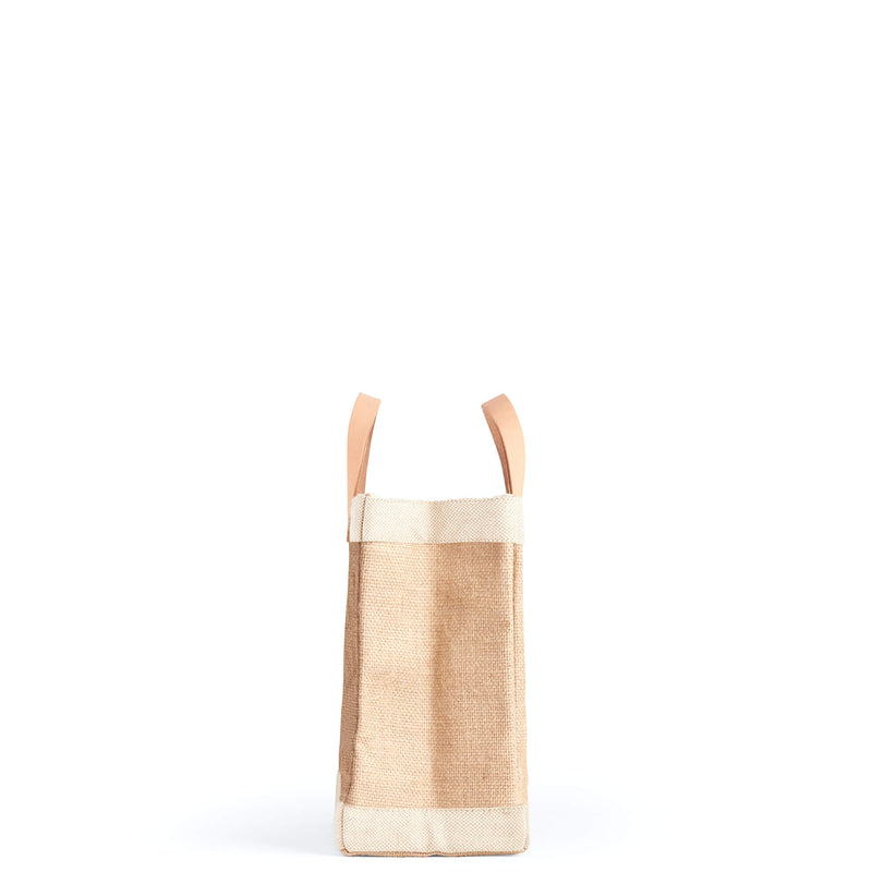 Petite Market Bag in Natural with Blue Stripes
